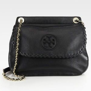 Tory burch Marion Chain Black Leather Shoulder Bag